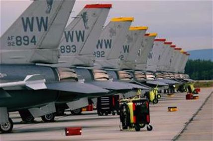 F-16s on the flightline at Misawa Air Base, Japan