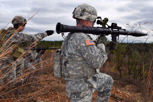 Soldier prepares to fire an RPG