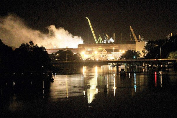 In this Wednesday, May 23, 2012 file photo, smoke rises from a dry dock as fire crews respond to a fire on the USS Miami submarine (SSN 755) at the Portsmouth Naval Shipyard on an island, in Kittery, Maine. (AP Photo/The Herald, Ionna Raptis, File)