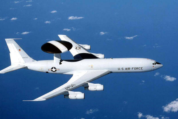 The E-3 Sentry is a modified Boeing 707/320 commercial airframe with a rotating radar dome. The dome is 30 feet in diameter, six feet thick, and is held 11 feet above the fuselage by two struts. (U.S. Air Force photo)