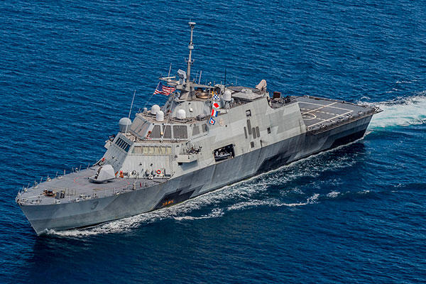 The littoral combat ship USS Fort Worth (LCS 3) transits in formation with ships from the Royal Malaysian Navy. (U.S. Navy/Mass Communication Specialist 2nd Class Joe Bishop)