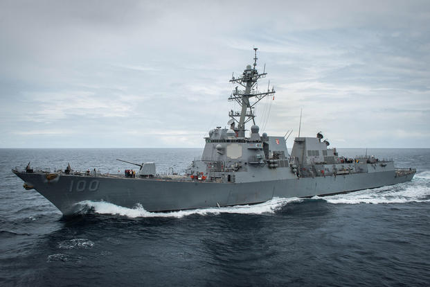 The guided-missile destroyer USS Kidd (DDG 100) is underway off the coast of southern California. (U.S. Navy photo by Mass Communication Specialist 2nd Class Jacob Estes/Released)