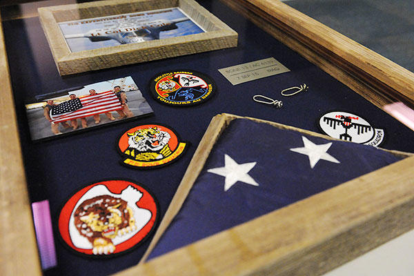 The shadow box given to retired Lt. Col. Robert E. Cole, a B-25 Mitchell bomber co-pilot and survivor of the Doolittle Raid on Tokyo, from the 28th Operations Group, Ellsworth Air Force Base, S.D. (U.S. Air Force/Staff Sgt. Carlin Leslie)