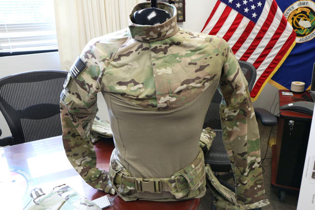The Army's new Ballistic Combat Shirt, part of the new Soldier Protection System, is outfitted with soft armor  to protect the neck, shoulders, high chest and high back. (Photo by Matthew Cox/Military.com)