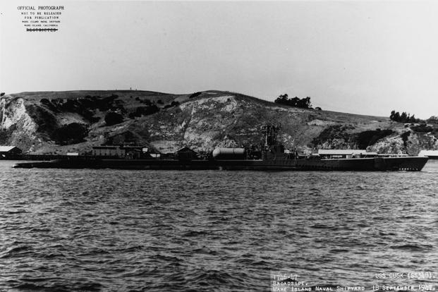 USS Cusk off the Mare Island Naval Shipyard, Mare Island, California, Sept. 18, 1947 (Photo: Naval History and Heritage Command)