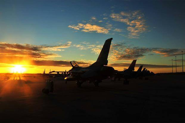 F-16 Fighting Falcons from the 180th Fighter Wing, Ohio Air National Guard, sit on the flightline before an training sortie Sept. 17, at Tyndall Air Force Base, Fla. (U.S. Air Force/Senior Master Sgt. Beth Holliker)