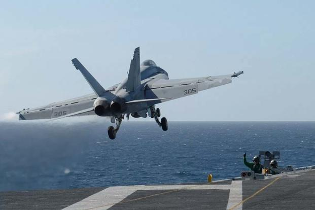 "An F/A-18E Super Hornet assigned to the ""Blue Diamonds"" of Strike Fighter Squadron (VFA) 146 launches from the aircraft carrier USS Nimitz (CVN 68), in the Pacific Ocean on March 22, 2017. (U.S. Navy/Leon Wong)"