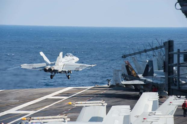 An F/A-18F Super Hornet launches from the aircraft carrier USS George H.W. Bush (CVN 77) in support of Operation Inherent Resolve. (U.S. Navy/Mass Communication Specialist 3rd Class Danny Ray Nunez Jr.)