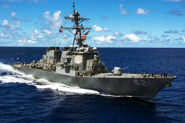 The Arleigh Burke class guided-missile destroyer USS Fitzgerald (DDG 62) on patrol in support of security and stability in the Indo-Asia-Pacific region. (U.S. Navy/Mass Communication Specialist Seaman David Flewellyn)