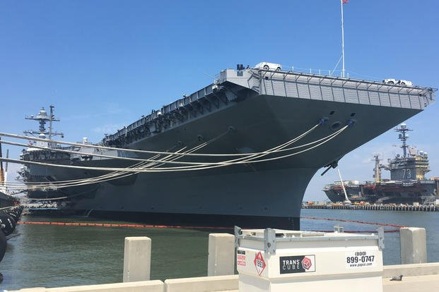 The aircraft carrier Pre-Commissioning Unit Gerald R. Ford (CVN 78) is docked at Pier 11 of Naval Station Norfolk, Virginia, June 30, 2017. (Department of Defense photo/Thomas M. Ruyle)