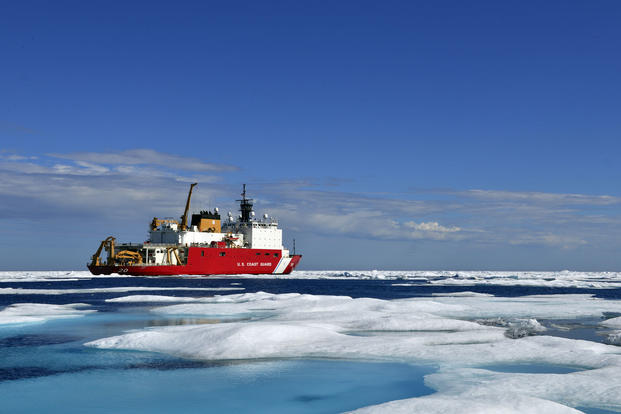 The Coast Guard Cutter Healy, a medium icebreaker, sits in the Chukchi Sea off the coast of Alaska during an Arctic deployment in support of scientific research and polar operations, July 29, 2017. (U.S. Coast Guard photo/Meredith Manning)