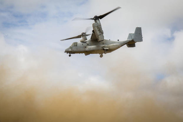 A U.S. Marine Corps MV-22 Osprey soars through the skies over Hokkaido, Japan, August 18, 2017, in support of Northern Viper 2017. (U.S. Marine Corps photo/Lance Cpl. Andy Martinez)