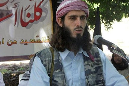 American-born Islamist militant Omar Hammami, 27, also known as Abu Mansur al-Amriki, addresses a press conference of the militant group al-Shabab