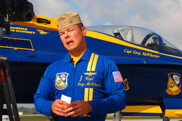 Captain Greg McWherter, Blue Angels #1 and squadron commander is interviewed by local media shortly after arriving at Dobbins Air Reserve Base Oct. 14. (U.S. Air Force photo/ Brad Fallin)