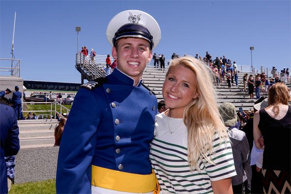 Second Lt. Blake Jones poses with his sister, Navy Ensign Madison Jones, after graduating May 28, 2014, from the U.S. Air Force Academy, Colo. (U.S. Air Force Photo/Liz Copan)