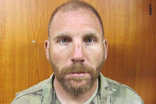 An image taken from the investigation into Staff Sgt. Robert Bales after he killed 16 people in Afghanistan. Soldiers took this photo of Bales after his arrest at Village Stability Platform Belambay. U.S. Army photo
