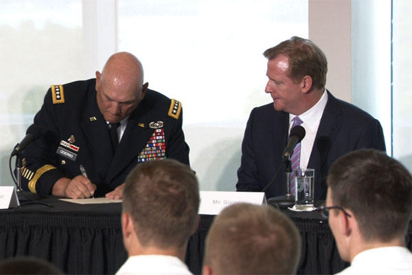 U.S. Army Chief of Staff Gen. Raymond T. Odierno and NFL Commissioner Roger Goodell discuss mild traumatic brain injuries and concussions in an Aug. 30 panel between U.S. Army leaders and NFL officials. (DVIDS)