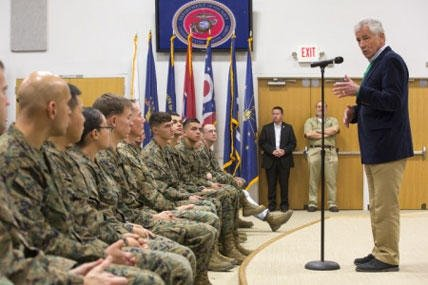Secretary of Defense Chuck Hagel talks with Marines and sailors from II Marine Expeditionary Force aboard Marine Corps Base Camp Lejeune, Nov. 18, 2014. (Official Marine Corps photo by Cpl. Scott W. Whiting)