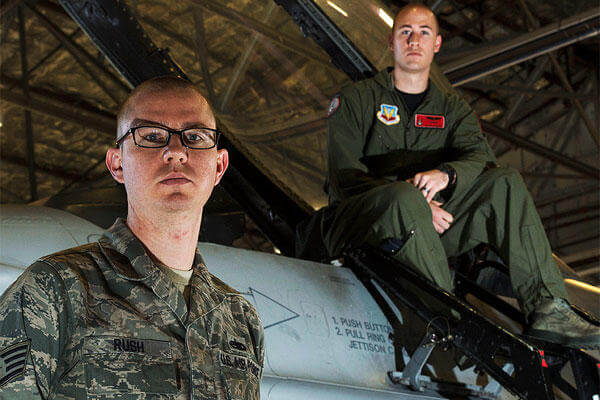 Brothers Air Force 1st Lt. Sean Rush, a pilot in the 421st Fighter Squadron, and Air Force Staff Sgt. Brandon Rush of the 388th Aircraft Maintenance Squadron are both assigned to the 388th Fighter Wing at Hill Air Force Base, Utah. U.S. Air Force photo
