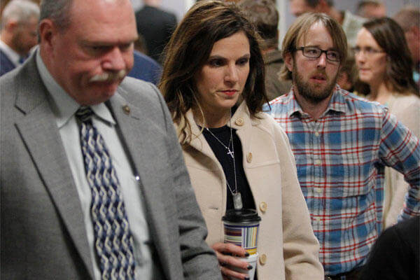 Taya Kyle, widow of Chris Kyle, leaves for a break during the capital murder trial of former Marine Cpl. Eddie Ray Routh at theErath County, Donald R. Jones Justice Center in Stephenville, Texas, Feb. 16, 2015.(AP Photo/Star-Telegram, Rodger Mallison)