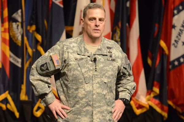 Gen. Mark A. Milley tells 300 ROTC and U.S. Military Academy cadets his winning philosophy. Milley spoke during the George C. Marshall Award and Leadership seminar on Fort Leavenworth, Kan., March 31, 2015. (U.S. Army photo/ David Vergun)