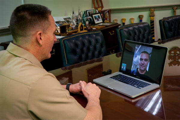 Master Chief Petty Officer of the Navy (MCPON) Mike Stevens video chats with Sailors aboard the littoral combat ship USS Fort Worth (LCS) 3. (U.S. Navy photo by Mass Communication Specialist 1st Class Martin L. Carey)