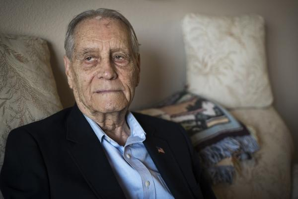 James Murphy, World War II veteran and prisoner of war, is photographed at his home in Santa Maria, Calif., Thursday, July 16, 2015. (AP Photo/Michael A. Mariant)