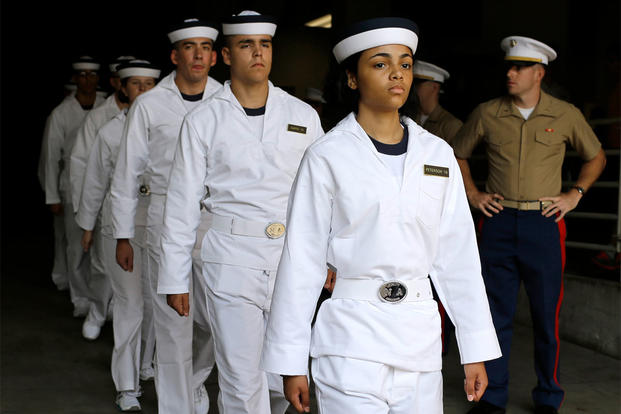 Prospective plebes march in formation during Induction Day at the U.S. Naval Academy, Wednesday, July 1, 2015, in Annapolis, Md.  (AP Photo/Patrick Semansky)