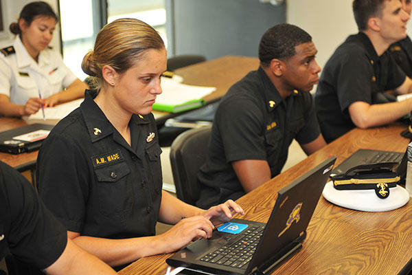 Midshipman 1st Class Anna Wade attends class at the U.S. Naval Academy. Wade is a prior enlisted Sailor accepted into the academy while on active duty. (U.S. Navy/David S. Tucker)