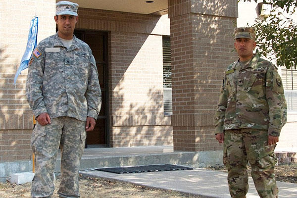 Sgt. Yaseen, left, and Spc. Salam at Fort Hood, Texas. Both Soldiers are native-born Iraqis, who immigrated to the United States and joined the U.S. Army as 35P - cryptologic linguists. (U.S.Army/Sgt. Dominique M. Clarke)