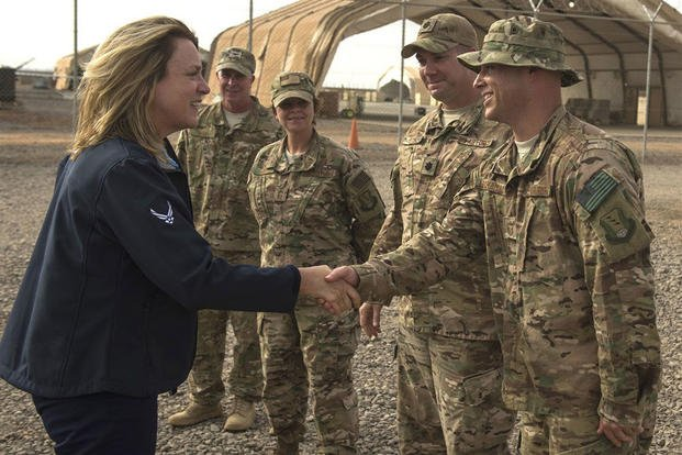 Secretary of the Air Force Deborah Lee James greets Chebelley Airfield leadership Nov. 12, 2015, in Djibouti. (U.S. Air Force photo/Senior Airman Peter Thompson)