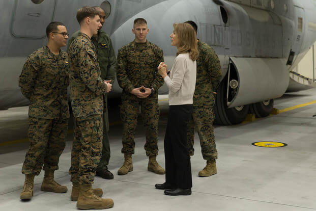 Caroline B. Kennedy, U.S. ambassador to Japan, speaks to Marines with Marine Aerial Refueler Transport Squadron 152 (VMGR-152) at Marine Corps Air Station Iwakuni, Japan, Jan. 28, 2016. (Photo: Cpl. Nicole Zurbrugg)