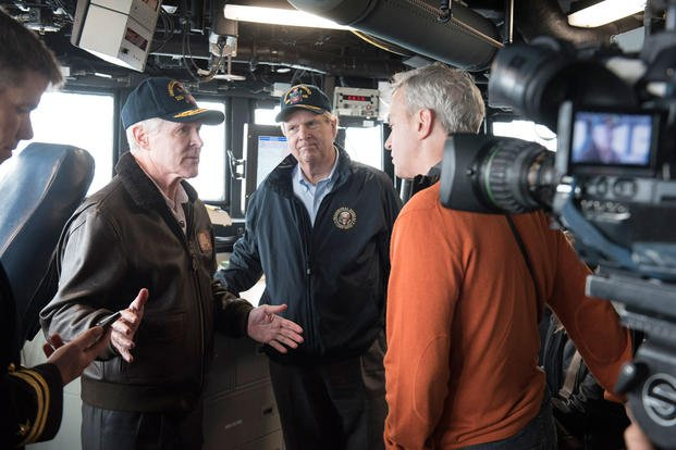 Secretary of the Navy Ray Mabus and Secretary of Agriculture Tom Vilsack speak to media aboard the guided-missile destroyer USS William P. Lawrence. (Photo: Mass Communication Specialist 2nd Class Armando Gonzales)
