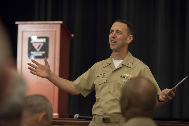 Chief of Naval Operations Adm. John Richardson holds an all-hands call at Space and Naval Warfare Systems Center Pacific. (Photo: Mass Communication Specialist 1st Class Nathan Laird)