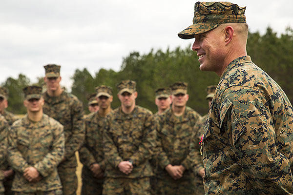 Staff Sgt. Nathan A. Hervey, an instructor with the Advanced Infantry Training Battalion at the School of Infantry-East, speaks to Marines at Marine Corps Base Camp Lejeune, North Carolina. (U.S. Marine Corps/Cpl. Fatmeh Saad)
