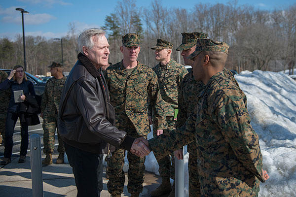 Secretary of the Navy Ray Mabus greets Marines at The Basic School during his visit to Marine Corps Base Quantico, Virginia, Jan. 27, 2016. (U.S. Marine Corps/Sgt. Cuong Le)