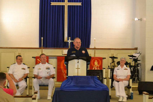 Retired Navy Lt. Cmdr. Jim Smith, who survived the June 8, 1967 attack on the USS Liberty by Israeli forces spoke last month at Naval Station Norfolk, where a Carillion bells system was rededicated to the ship at the base chapel. Navy photo via Facebook.