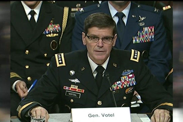 Gen. Joseph Votel provides his testimony in front of Congress. (U.S. Army photo)