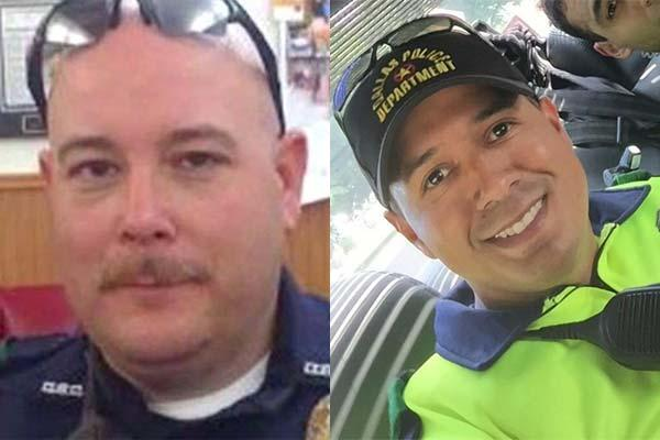 Former Marine Brent Thompson (left) and former Navy sailor Patrick Zamarripa (right) are two of the police officers who were victims of the sniper attack in Dallas. (Twitter)