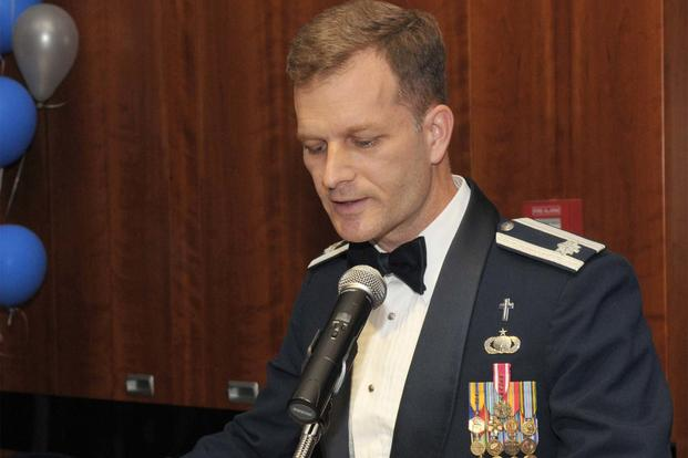 Dondi Costin gives the invocation during the 2009 Air Force Ball at Club Eifel, Spangdahlem Air Base, Germany. (U.S. Air Force photo/Airman 1st Class Nick Wilson)