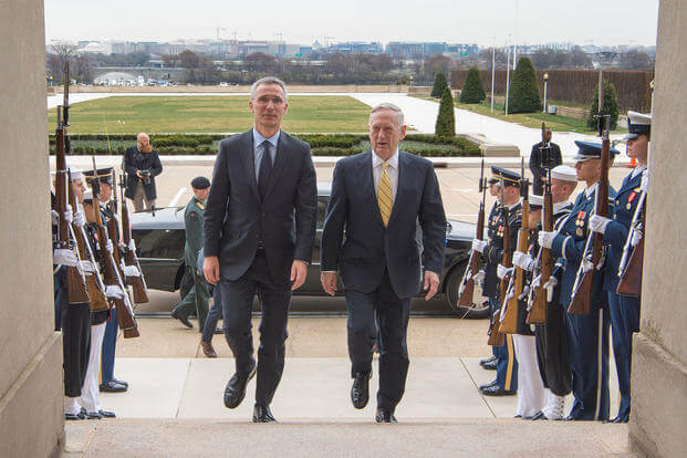 Defense Secretary Jim Mattis, right, walks with NATO Secretary General Jens Stoltenberg before a meeting at the Pentagon, March 21, 2017. (DoD photo/Army Sgt. Amber I. Smith)