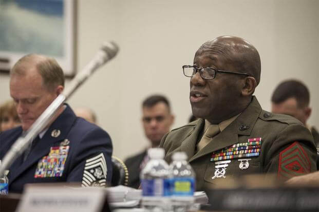 The 18th Sergeant Major of the Marine Corps, Ronald L. Green, delivers his testimony on Capitol Hill, Washington D.C., Feb. 26, 2016. (U.S. Marine Corps/Sgt. Melissa Marnell)