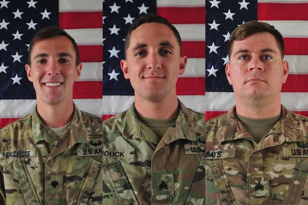 From left, Cpl. Dillon C. Baldridge, 22, Sgt. Eric M. Houck, 25, and Sgt. William M. Bays, 29. All three were killed in an insider attack in Afghanistan on June 10, 2017. (Army Photos)