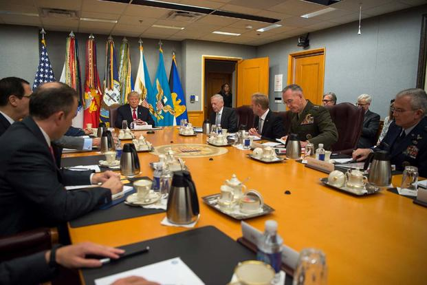 President Donald Trump speaks to members of the National Security Council at the Pentagon in Washington, D.C., July 20, 2017 (DOD/U.S. Army Sgt. Amber I. Smith)
