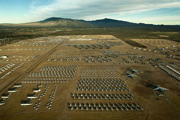 "A northern aerial view of the ""Boneyard"" of the 309th Aerospace Maintenance and Regeneration Group at Davis-Monthan Air Force Base, Ariz. Tech. Sgt. Bennie J. Davis III/Air Force"