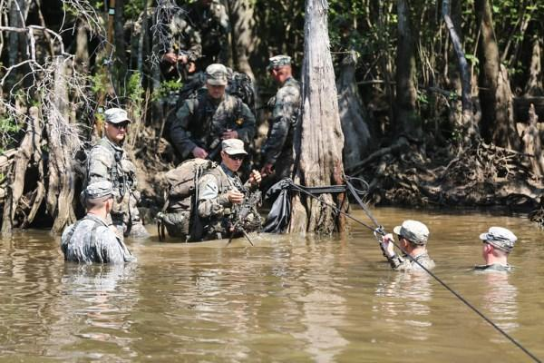 U.S. Army Soldiers participate in waterborne operations training during the Ranger Course on Camp Rudder on Eglin Air Force Base, Fla., Aug. 04, 2015. (U.S. Army photo by Staff Sgt. Scott Brooks)