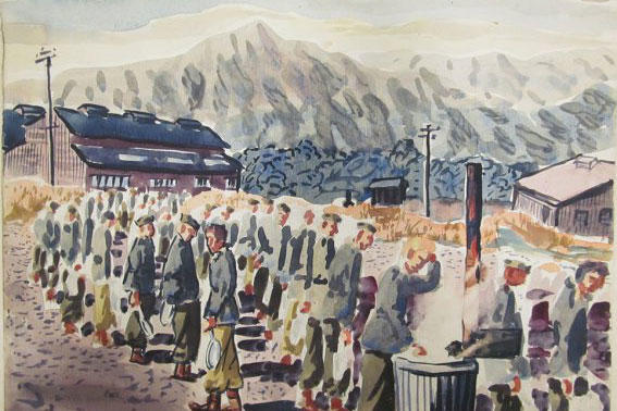 "Sgt. Angelo Gepponi, who served as a cook with the 77th Infantry Division during World War II, would paint scenes from daily life around camp. This watercolor, called ""Field Mess Line (Untitled),"" depicts Soldiers waiting to get chow. (Photo: U.S. Army)"
