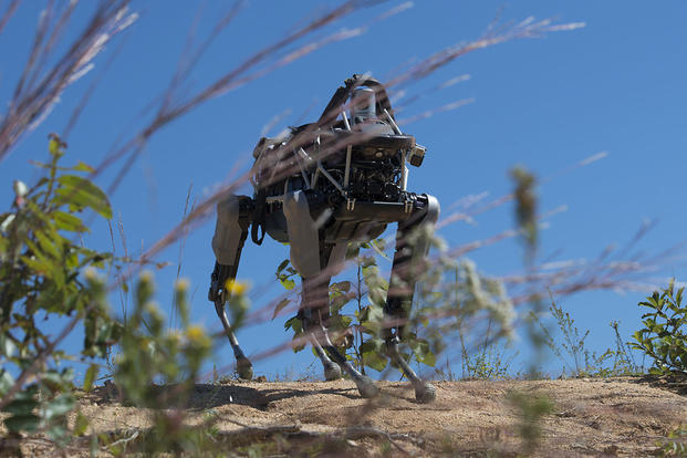 """Spot"", a quadruped prototype robot, walks down a hill during a demonstration at Marine Corps Base Quantico, Va., Sept. 16, 2015. Photo By: Sgt. Eric Keenan"