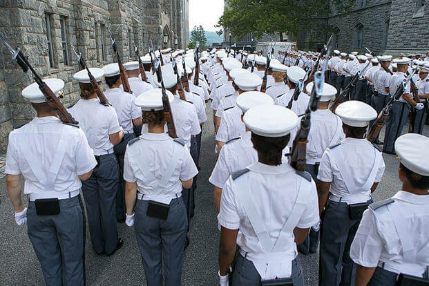 Members of the Class of 2019 join a ceremonial parade Aug. 15, 2015, at the U.S. Military Academy in West Point, N.Y. Jeremy Bunkley/U.S. Army
