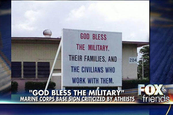 "The commander of Marine Corps Base Hawaii has ruled in favor of keeping a ""God Bless the Military"" sign, despite cries from a religious freedom group that the message is unconstitutional. Screen Capture"